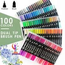 Dual Tip Brush Pens - 100 цветов, в г.Ташкент