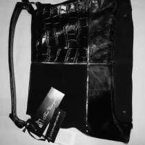 Сумка Пан-чемодан черная комбинирован натуральная кожа 35*25, в Казани