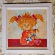 Картина маслом с ангелом (Ангел с куклой) живопись, в Москве