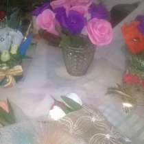 Цветы с конфетами для всех и мешочки для подарка, в г.Павлодар