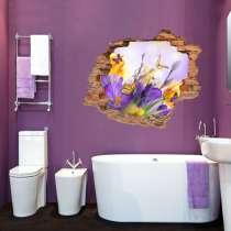 Наклейка в 3Д Цветы и бабочки, в Москве