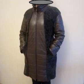 Женское, зимнее, кожаное пальто с натуральным мехом ягненка, в Дмитрове