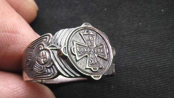 Перстень мужской, серебряный, православный, новый. 21 размер