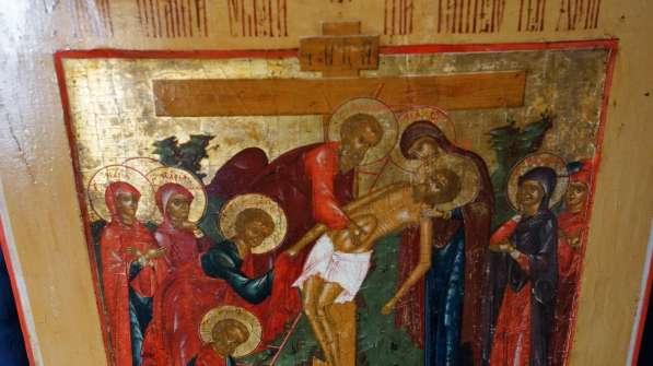 Старинный храмовый образ «Снятие с креста». Россия, XIX век в Санкт-Петербурге фото 15