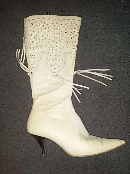 Женские кожаные сапоги осень