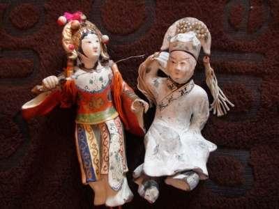 сер.19в статуэтки Китайские девушки 2шт.