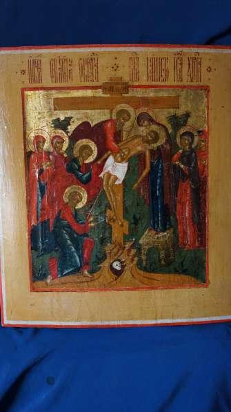 Старинный храмовый образ «Снятие с креста». Россия, XIX век