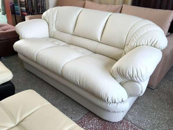 Белый кожаный диван Венеция