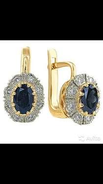 Золотые серьги с бриллиантами и сапфирами, новые, в Санкт-Петербурге