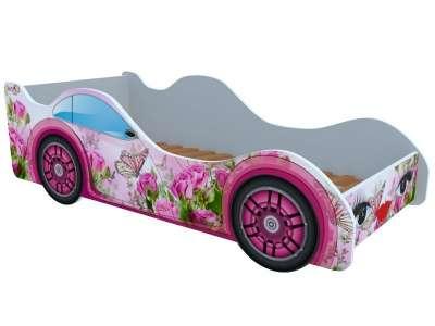 Кроватка машинка Бабочка в розах