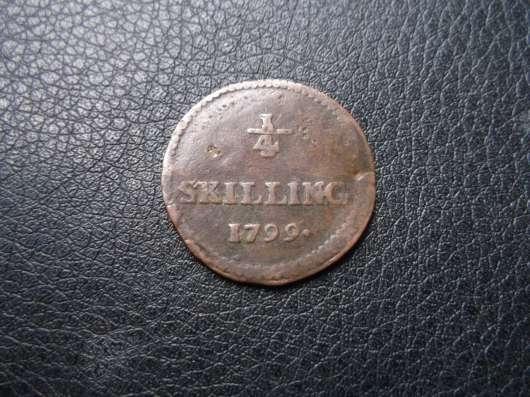 1/4 скиллинга, 1799 г. Швеция. Медь