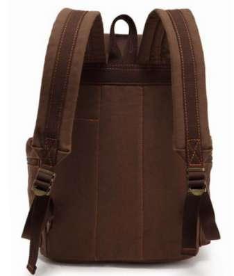 Коричневый рюкзак кожа натуральная холст