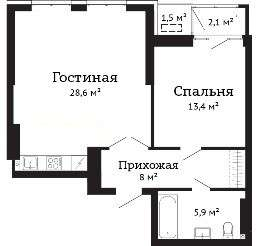 Евродвушка в ЖК Чехов