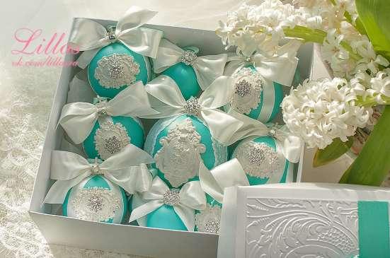 Новогодние елочные шарики в цвете тиффани на заказ