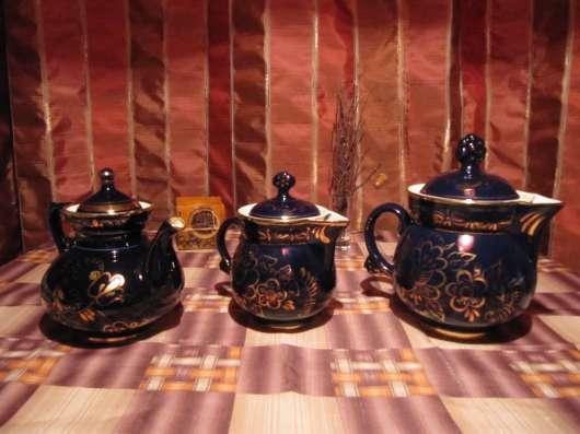 Кобальтовый чайный сервиз, Гжель (СССР) в Москве Фото 1