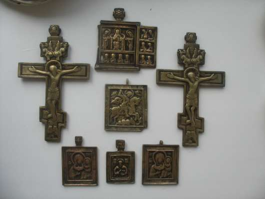 Старинные иконы медные 7шт