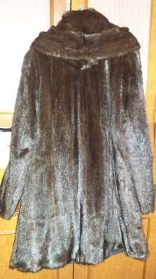 Шуба норковая с капюшоном 44-48р, коричневая, до колена